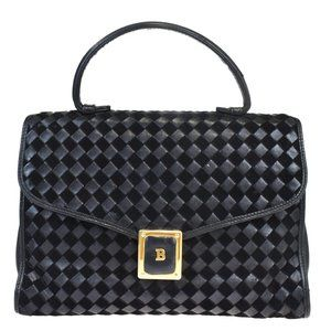 BALLY Logos Hand Bag Suede Leather Black Gold-Tone